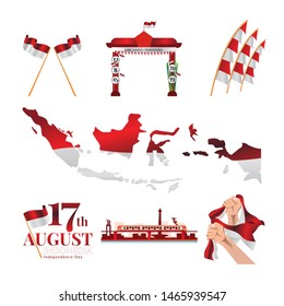 Set of isolated for Indonesia's independence day, graphic resources