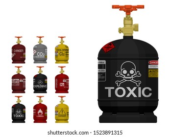 Set of isolated industrial gas cylinder with marking on transparent background