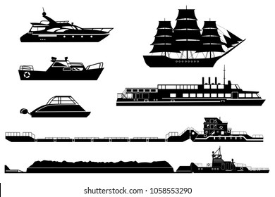 Set of isolated industrial tugs and passenger boats and yachts. Black and white vector illustration. Water and river transport silhouettes