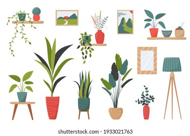 Set of isolated interior decor elements. Home plants in pots, lamps, shelves and pictures for decor your living room or office. Potted plants bundle, house plants. Vector collection in a flat stile