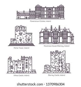 Set of isolated Ireland landmarks in thin line
