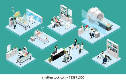 Set of isolated isometric compositions on theme doctor and patient with medical equipment for diagnostic surgery and rehabilitation vector illustration