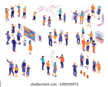 Set with isolated isometric guide excursion visitor characters with groups of human characters on blank background vector illustration