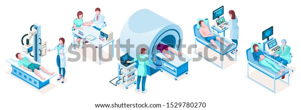 Set of isolated isometric medical technology equipment. Hospital diagnostic tools. MRI tomography ct, obstetric ultrasonography, cardiac medicine, resonance machine, vaccination, blood test.Healthcare