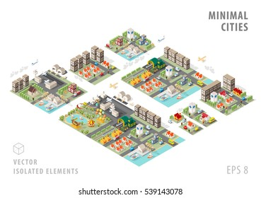 Set of Isolated Isometric Minimal City Maps. Elements with Shadows on White Background.