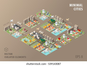 Set of Isolated Isometric Minimal City Maps. Elements with Shadows on Dark Background.