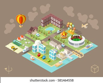 Set of Isolated Isometric Minimal City Elements . Town with Shadows on Dark Background