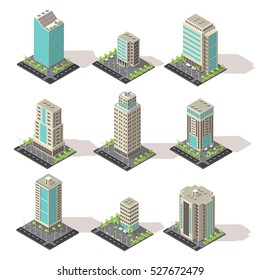 Set of isolated isometric office buildings from concrete and glass with environmental and road infrastructure vector illustration