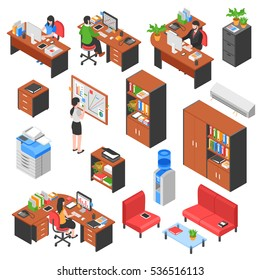 Set of isolated isometric office workplace elements with colorful furniture tables business machines and people characters vector illustration