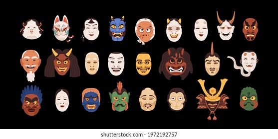 Set of isolated Japanese theatrical Noh masks. Japan festival heads of god, devils, demons and monsters. Colored flat graphic vector illustration of hannya, hyottoko, kabuki, kitsune, kyogen and okame