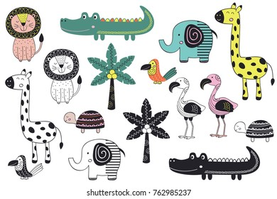 set of isolated jungle animals in Scandinavian style - vector illustration, eps