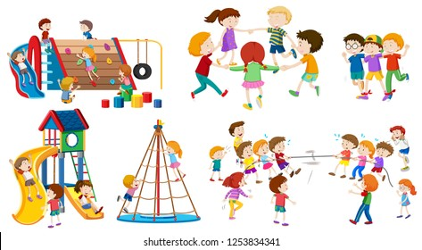 Set of isolated kid at playground illustration