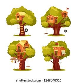 Einzelne Kinderhäuser auf Baum oder Kinderheim für das Spielen mit Schaukelreifen oder Reifensäge, Leiter und Flaggen. Unterkunft in Holz oder Wald in der Kindheit, Playhouse oder Baumhaus mit Garten.