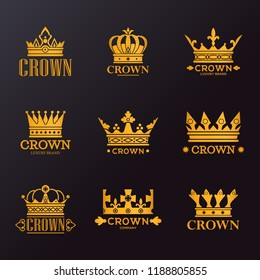 Set of isolated king or queen crowns for brand, vintage or retro headdress for company quality sign, jewelry business advertising. Heraldry and ads, medieval and coronation, monarchy theme