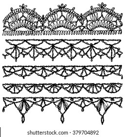 Set of isolated knitted lace borders with an openwork pattern. Vector illustration