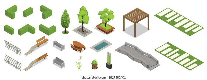 Set of isolated landscape design isometric elements with icons of fence hedgerow pieces trees and benches vector illustration