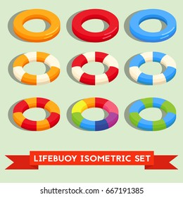 Set of isolated lifebuoy or swimming ring. Colorful stripped flat 3d icon or logo template isolated on the background. Vector isometric illustration.
