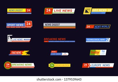 Set of isolated live or breaking news message for tv show or broadcast. Media information or headline for baby or digest, 24 hour or fake news, morning block or sport sign. Video logo, stream theme