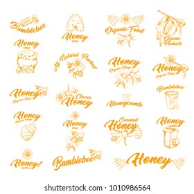 Set of isolated logos or stickers for honey bottle or container. Bumble bee or honey bee, flower and spoon taking honey from bucket, bottle and honeycomb, hive. Food and apiary, farming theme