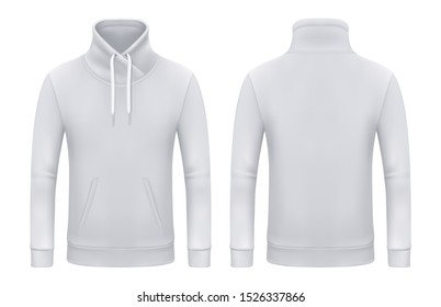 Set of isolated long sleeve sweatshirt or top wear for man and woman. Blank template for white jacket or realistic pullover, unisex clothing with pockets. Men and women apparel, fashion jacket.Textile