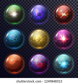 Set of isolated magic balls or spheres for foretelling, orb for future prediction, fortune teller mystic glass globe, glowing magical circle for soothsayer, psychic. Astrology and superstition,mystery