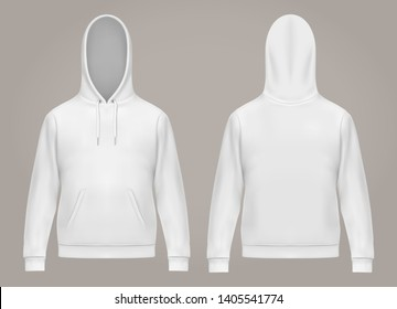 Set of isolated man hoodie or front and back of white men hoody with kangaroo pocket, drawstrings. Casual or urban sweatshirt, realistic male sweater with hood. Long sleeve clothing. Hooded fashion