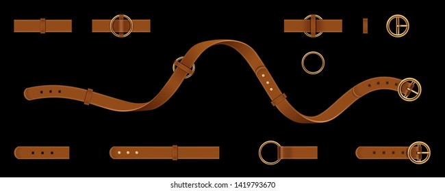 Set of isolated man and woman leather or lethern belt. Clasp and chain, tassel and metallic ring straps, metal buckle or cuff for male and female clothing accessories. Fashion and uniform, cloth