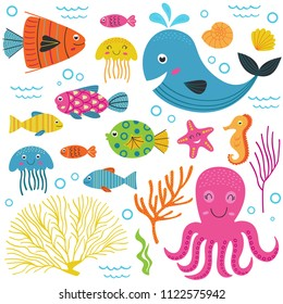set of isolated with marine animals  part 1 - vector illustration, eps