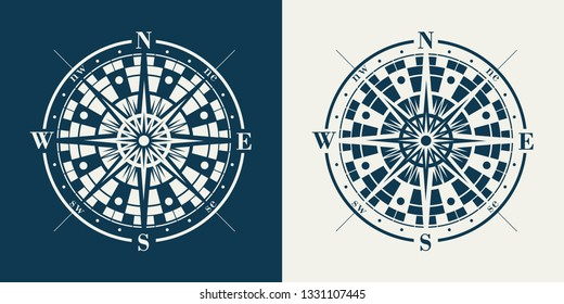 Set of isolated marine wind roses silhouettes. Compass vector navigation label illustrations.