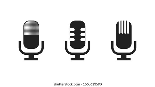 Set isolated microphone icons. Vector graphic concept sign symbol