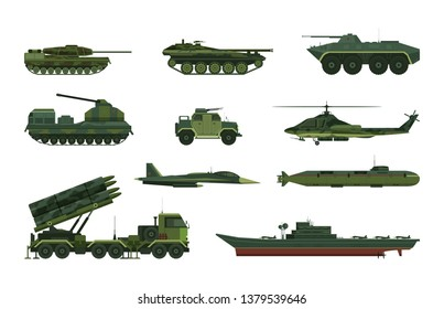 Set of isolated military vehicle icons. Tank and aircraft, helicopter and submarine, boat or frigate, hammer and airplane, aircraft protection truck, ground machines. War and navy, air and artillery