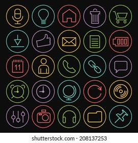 Set of Isolated Minimal Simple Multimedia Thin White Line Icons on Minimal Circular Buttons on Black Background.