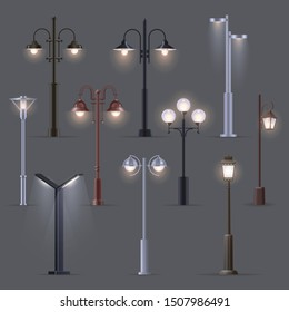 Set of isolated modern street light or old, retro lantern. Electric lights on pillar or post. Metallic classic streetlamp or urban lamppost. Outdoor pole. Street or city, town decoration, electricity