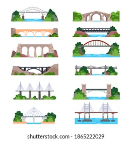 Set of isolated modern and vintage bridges with cable and column. Building for transportation over river. Iron and stone construction for railway or highway, road. Metal construction. Architecture
