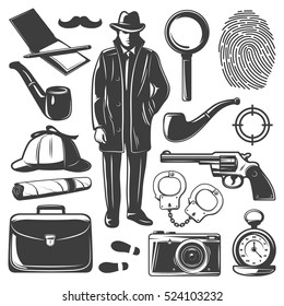 Set of isolated monochrome old style drawn detective elements with professional spy gear pipe and notebook vector illustration