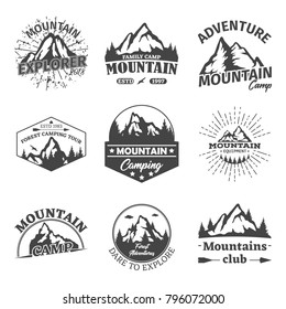 Set of isolated mountain peaks. Badges for forest camping or exploration camp, tourism or extreme sport club. Landscape of rocks or hills. Travel or journey agency logo and geology, hiker and theme