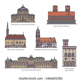 Set of isolated municipal architecture buildings of Europe. Athenaeum concert hall of Romania, Town hall of Estonia, City hall of Austria and Norway, Palazzo Pubblico in San Marino. Sightseeing places