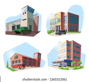 Set of isolated municipal buildings. Hospital and military base, police department, and firehouse. Building with ambulance and structure with fire truck, construction with tank, car. Emergency service