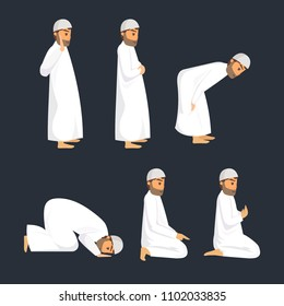 set of isolated muslim step prayer