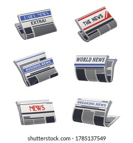Set of isolated newspaper icon. Paper media with world, business, breaking, daily news. Broadsheet with headlines. Latest newsletter. Folded press or morning gazette. Read and publisher theme