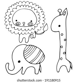 Set of isolated object - lion, giraffe and elephant in outlines