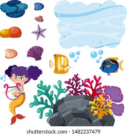 Set of isolated objects with mermaid and fish illustration