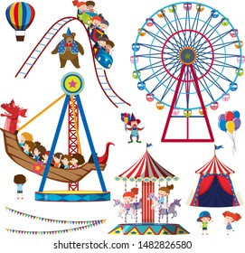 Set of isolated objects theme circus illustration