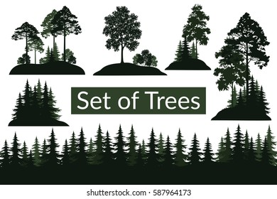Set Isolated on White Background Landscapes, Green Coniferous and Deciduous Trees and Bushes Silhouettes, Fir, Pine, Maple, Acacia, Lilac. Vector