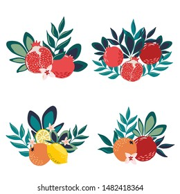 Set of isolated on white vector hand drawn fruit and leaves bouquets with lemons, oranges and pomegranates for card, banner, templates decoration
