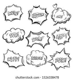 Set of isolated onomatopoeia comics sounds and explosion bubbles. Clouds for emotions and exclamation. Wow and kaboom, boom and pow, zap and wtf, aargh and pow. Cartoon talk and speak sketch
