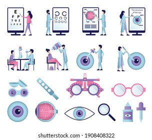 Set of isolated ophthalmology flat icons with eye sight test equipment glasses lenses and eye drops vector illustration