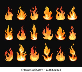Set of isolated orange fire or glowing flames. Blazing or burning heat, warm glow or realistic fireball, dancing lights or dangerous wildfire. Flaming explosion or fireplace, campfire and energy theme