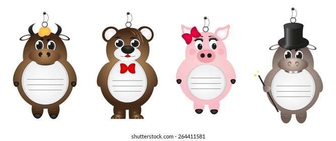 Set of isolated paper cartoon animals pig, bull, Hippo and bear with place for your text and notes