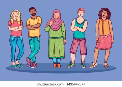 A set of isolated people in multi-colored clothes who do different things. They all wear colorful summer clothes. They play ball, dance, drink cocktails, ride the surf, smear sunscreen.